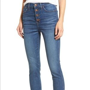 NWT Madewell Button-Front Distressed Hem Jeans